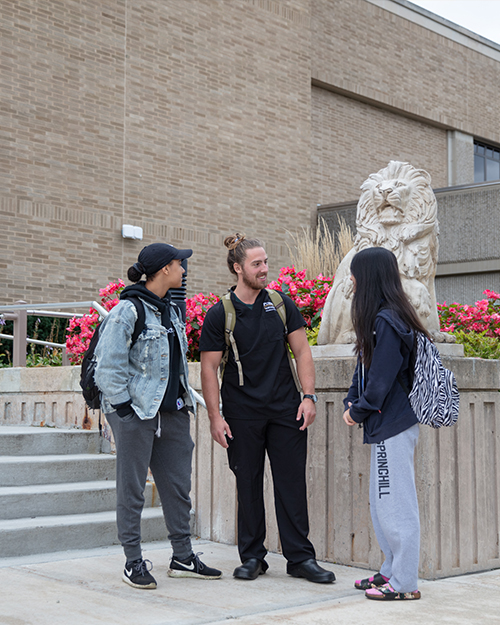 three students outside westville campus