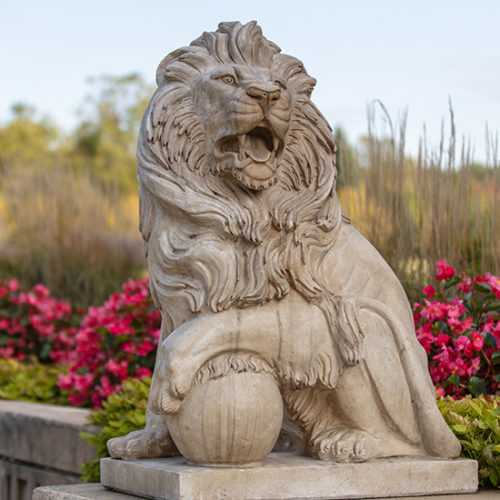 A lion statue on PNW's Westville campus