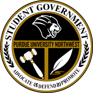 PNW Student Government Logo: illustrations of the lion mascot, a quill and a gavel with the text: Student Government: Advocate, Defend, Promote