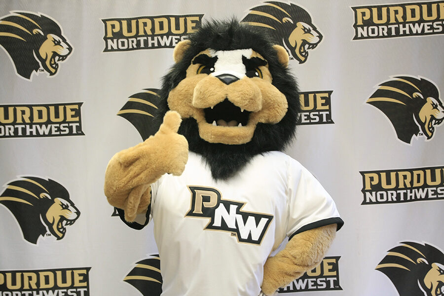 PNW mascot Leo gives a thumbs up