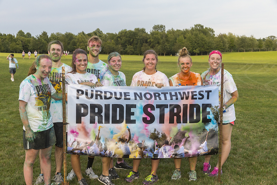 Students posed for Pride Stride.