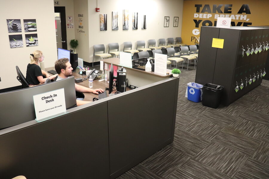 Students in the Hammond testing center.