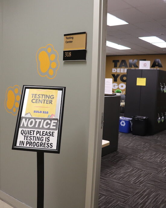 A sign at the testing center is pictured.