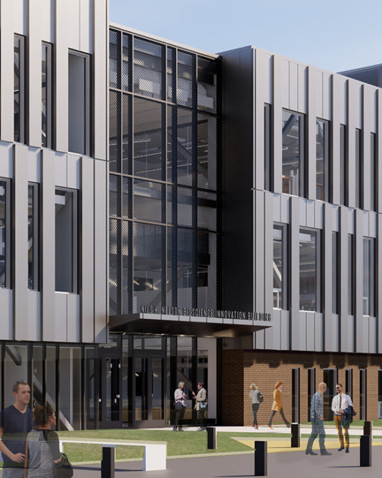 Nils Nelson Sign Rendering on the Bioscience Innovation Building