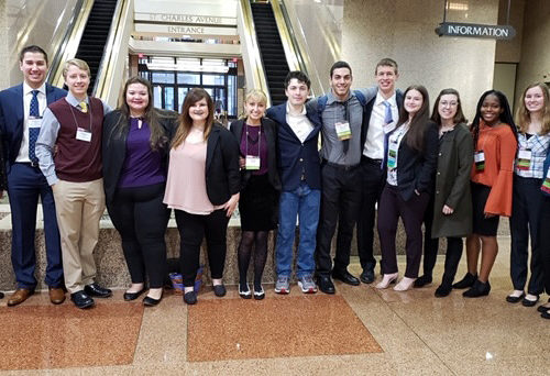 Purdue Northwest Honors College students (Pictured l to r) Annabelle Engel, Zachary Eng, Regan Sink, Kaitlyn Murrell, Victoria Bengston, Kayla Vasilko, Joseph Stewart, Hanna Damarjian, Brandon Grabarek, Sadie Casteel, Elizabeth Searle, Darian Smith, Karly Wcisel, and Shakira Taylor were selected as presenters for the 54th National Collegiate Honors Council Annual Conference held November 6-10 in New Orleans.