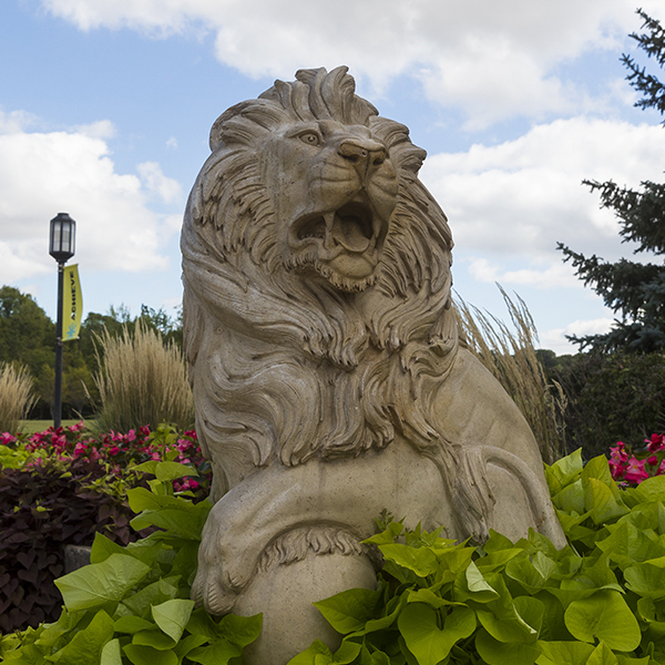 A lion sculpture on PNW's campus