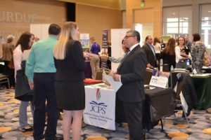 people networking at career expo