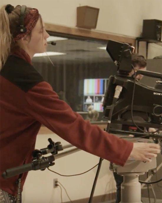 Mia Stevens in the studio