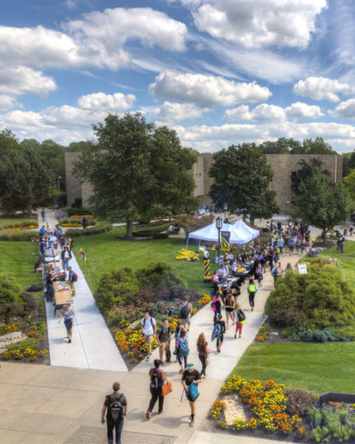 An aerial view of students walking across PNW's Westville campus