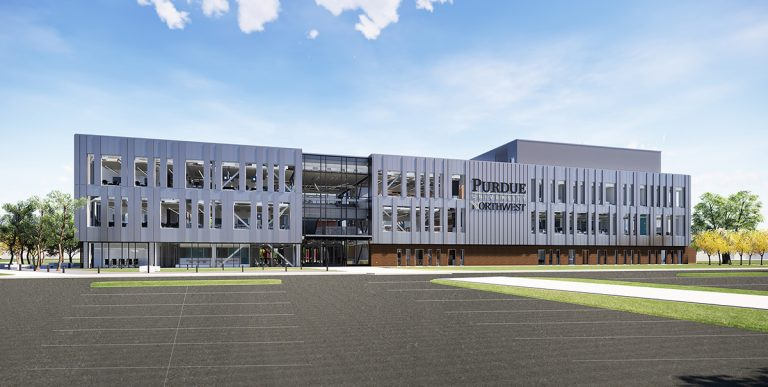Rendering of the Bioscience Innovation Building on PNW's Hammond Campus