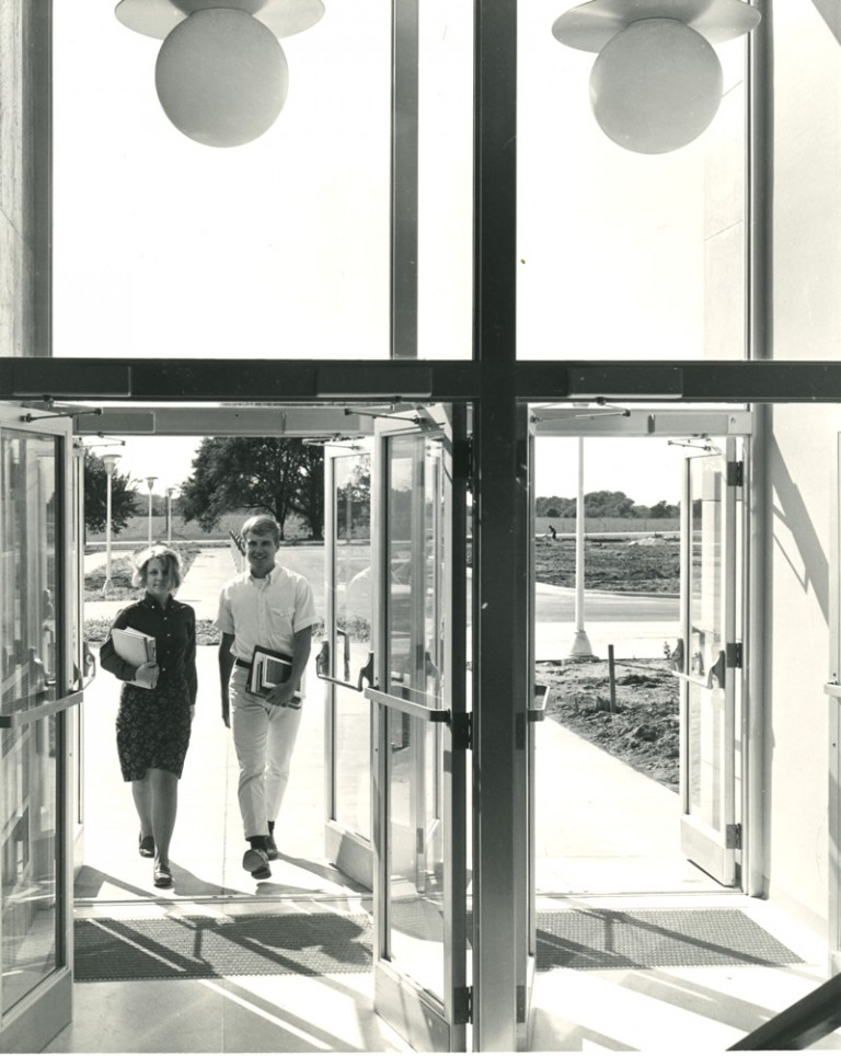 The first students walk into the Education Building (now Schwarz Hall), 1967