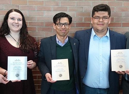 Steel Bridge Team (pictured left to right): Sara Fisch, Haley Nowakowski, faculty advisor Chien-Chung Chen, Juan Padilla and Santiago Burgos.
