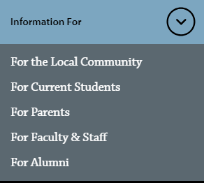 "The ""Information For"" pop-up on pnw.edu. Text: Information for: the local community, current students, parents, faculty and staff, alumni."