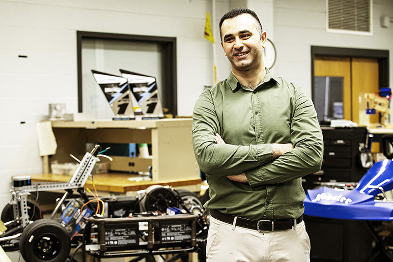 Electrical Engineering faculty member Khair Al Shamaileh in the lab.