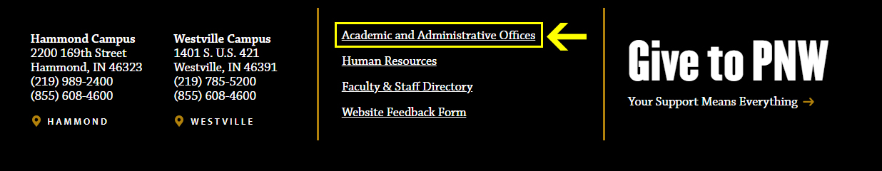 A snapshot of the footer of PNW's current site, with Academic and Administrative Offices highlighted.