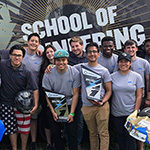 School of Engineering students pose with a contest prize