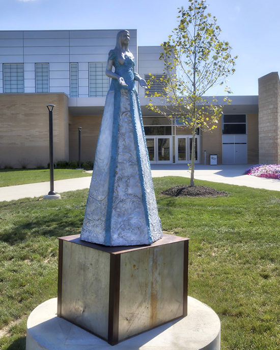 "The sculpture ""Water"" by Teresa Lind on PNW's Westville campus."