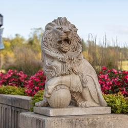 A lion sculpture on PNW's Westville campus