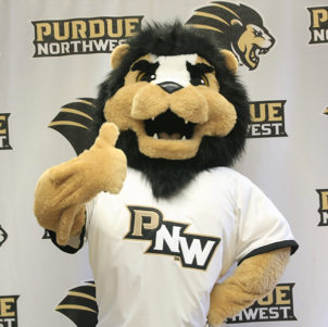 PNW Mascot Leo gives a thumbs up.