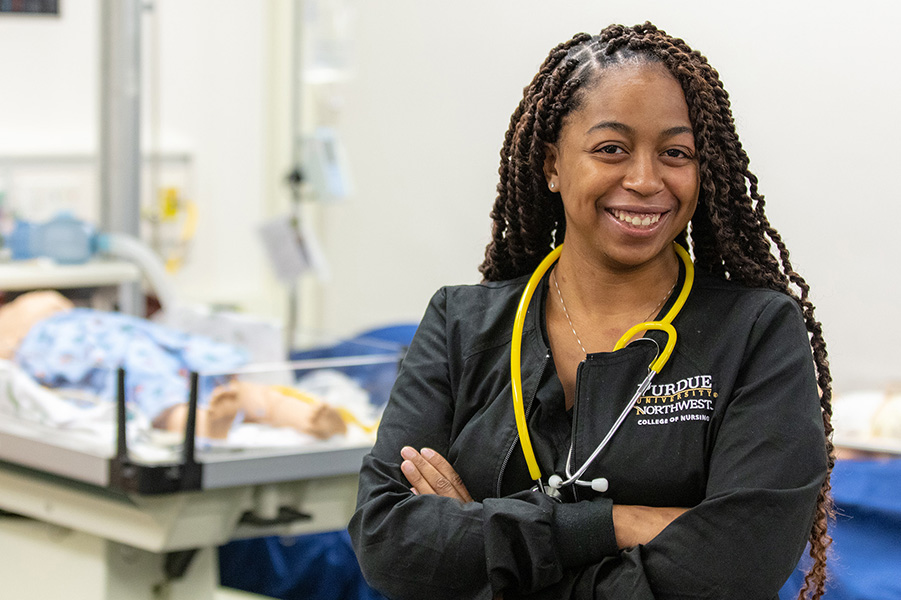 A nursing student is pictured.