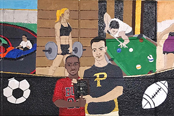 A mural on PNW's running track at the Hammond Campus