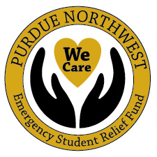 "A seal featuring hands gripping a heart and the text, ""Purdue Northwest. We care. Emergency student relief fund"""