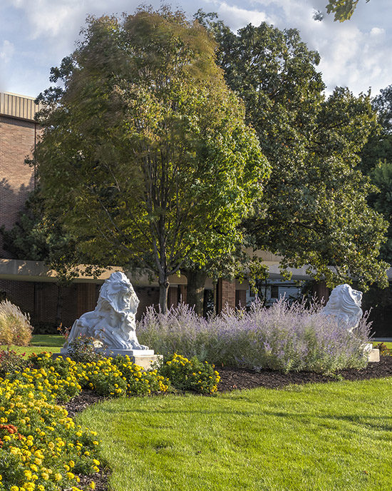 Lion sculptures on PNW's Hammond Campus