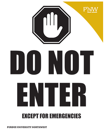 "Sign with illustration of upheld hand. Text ""Do Not Enter Except for Emergencies"""