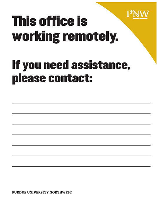 Sign: This office is working remotely. If you need assistance, please contact: