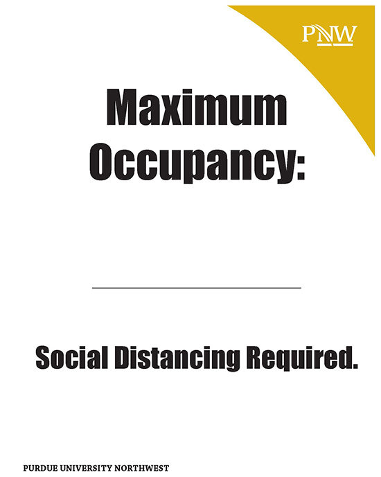 Signage: Maximum Occupancy: Social Distancing Required