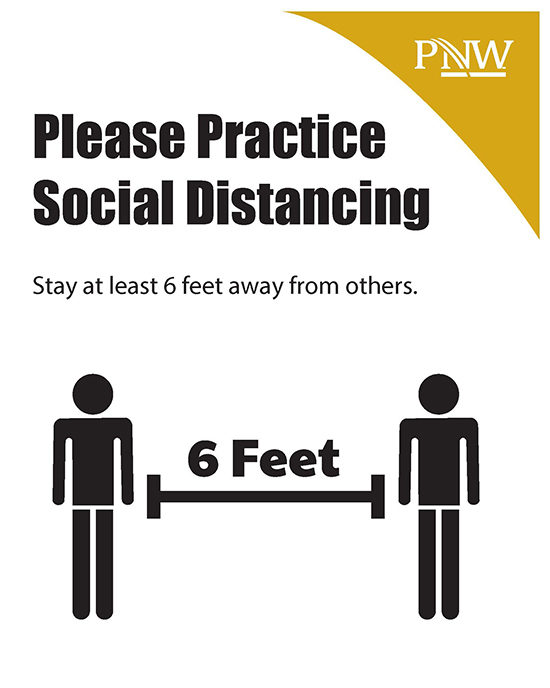 Signage: Please Practice Social Distancing. Stay at least 6 feet away from others.