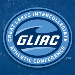 Logo for the Great Lakes Intercollegiate Athletic Conference, featuring that text and GLIAC on a blue wave.