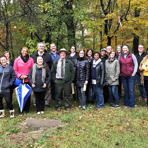 A Leadership Northwest Indiana cohort at PNW's Gabis Arboretum