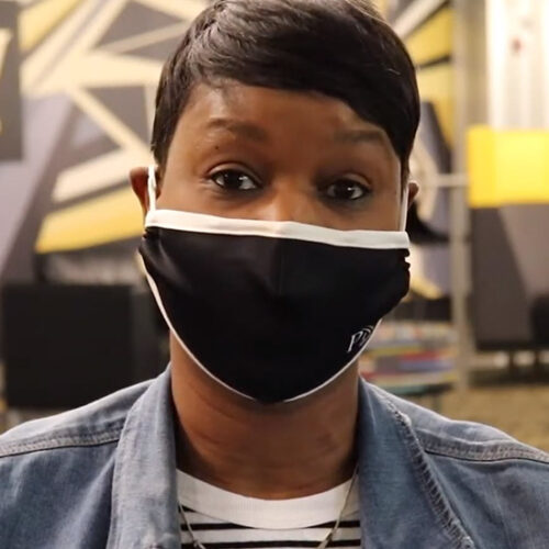 Yohlunda Mosley, vice chancellor of enrollment management and student affairs, in a PNW mask