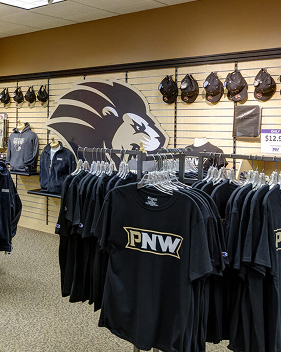 T-shirts hanging in PNW's bookstore