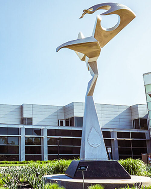 A sculpture in front of PNW's Dworkin Student Support and Activities Complex.