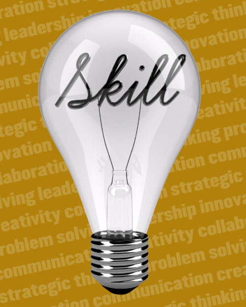 Image of lightbulb with the word skill written on it.