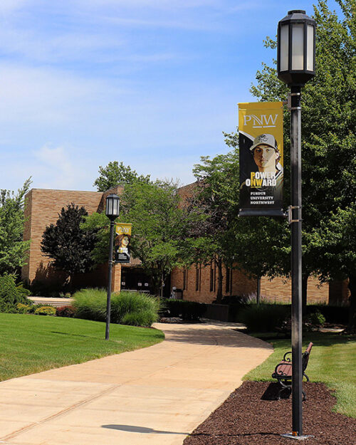 Banners on PNW's Westville campus