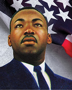 An illustration of Martin Luther King Jr. in front of an American flag