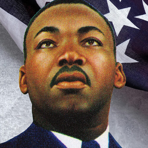 An illustration of Martin Luther King, Jr. in front of an American flag