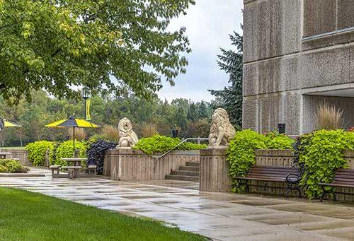 lion statues outside of westville campus