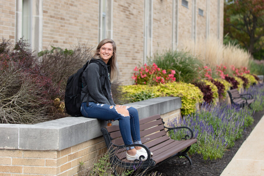 A student is pictured on the Westville campus.