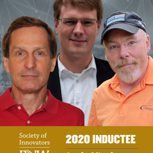 "Three ArcelorMittal employers stand together above text reading ""Society of Innovators at PNW 2020 Inductee"""