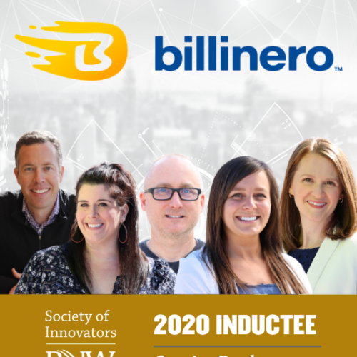 A group of Centier Bank employees beneath a logo for Billinero. They are 2020 Inductees for PNW's Society of Innovators.