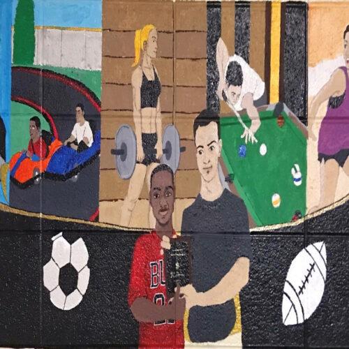A sample PNW Fitness Center mural