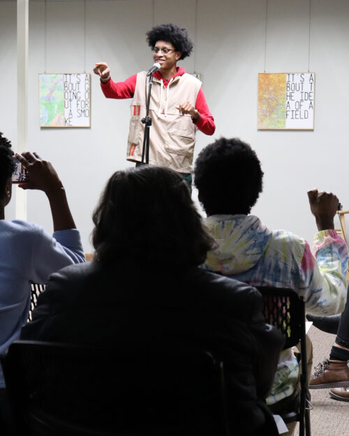 A participant performs for the audience at the 2020 PNW Black History Month Poetry Slam. This year's poetry slam will be held virtually on Feb. 23, one of many events planned by Purdue Northwest to commemorate Black History Month.