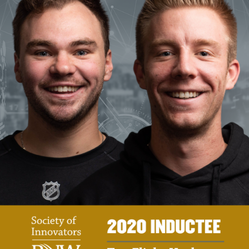 Danny Mikrut and Quinton Oster from Top Flight Hockey are recognized as 2020 Inductees for PNW's Society of Innovators