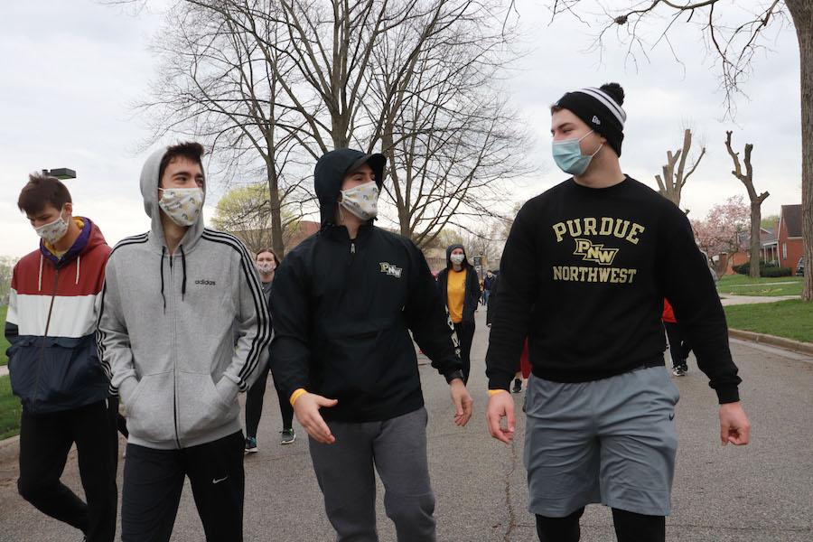 Students walking in 5K walk.