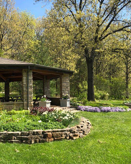 A shelter at Gabis Arborteum at Purdue University Northwest