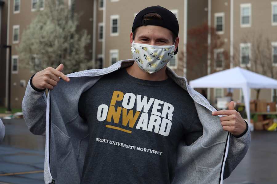 Student in branded PNW gear is pictured.